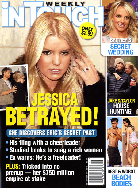 Jessica Simpson betrayed! In Touch Weekly cover for December 20, 2010