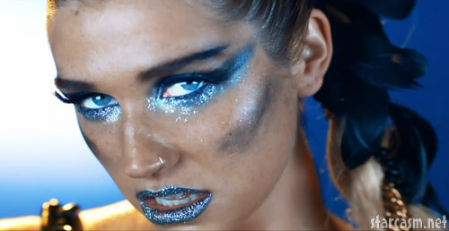 Ke$ha with blue makeup from her We R Who We R music video