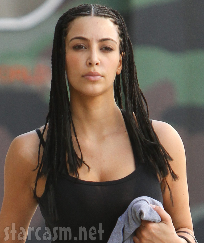 Kim Kardashian with corn rows