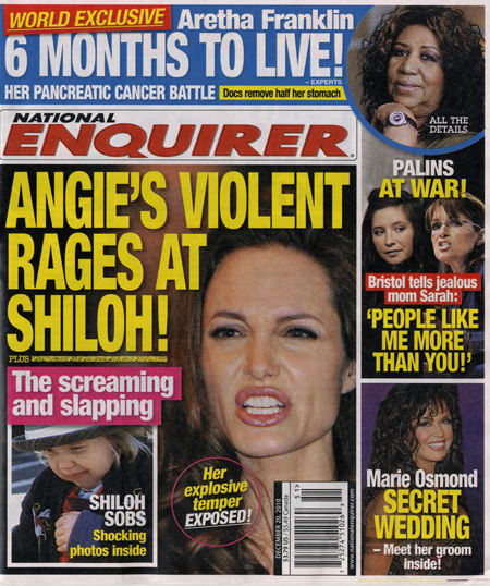 Angelina Jolie's violent rage at daughter Shiloh National Enquirer cover