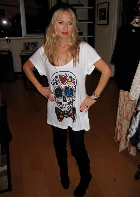 Rachel Zoe wearing a limited edition Mondo Guerra Sugar Skull amfAR tee shirt