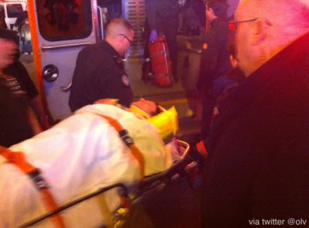 Actor put in an ambulance on a stretcher after Spider-Man: Turn Off The Dark accident