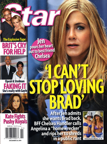 Star magazine cover Jennifer Aniston I Can't Stop Loving Brad