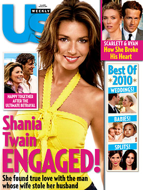 Us Weekly magazine cover announcing Shania Twain's engagement to Frederic Thiebaud