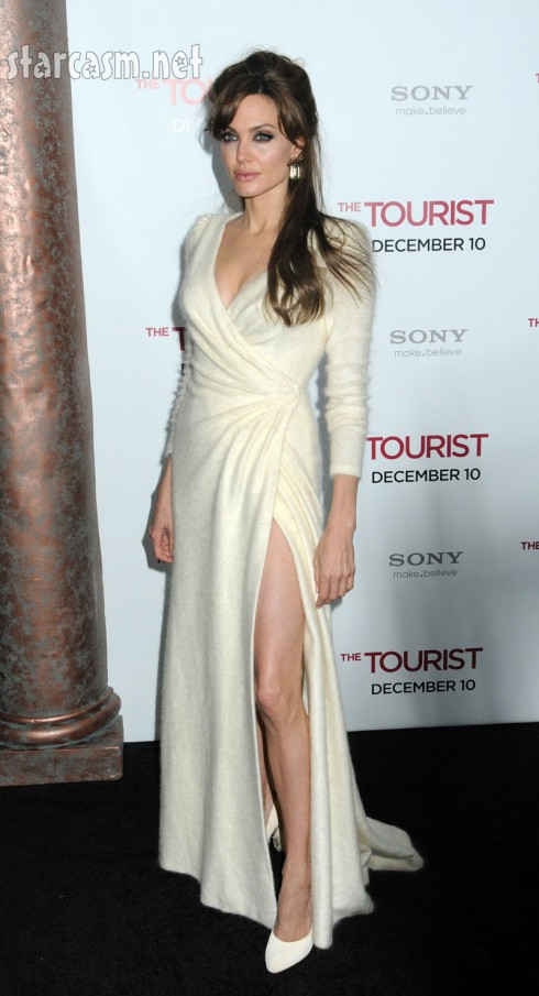 Angelina Jolie flashes leg at The Tourist Premiere
