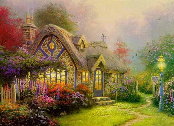 Thomas Kinkade painting Candlelight Cottage
