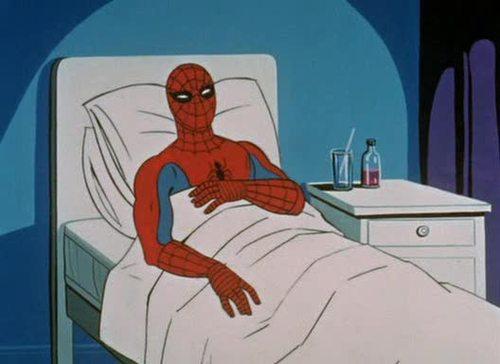 Spider-Man laid up sick