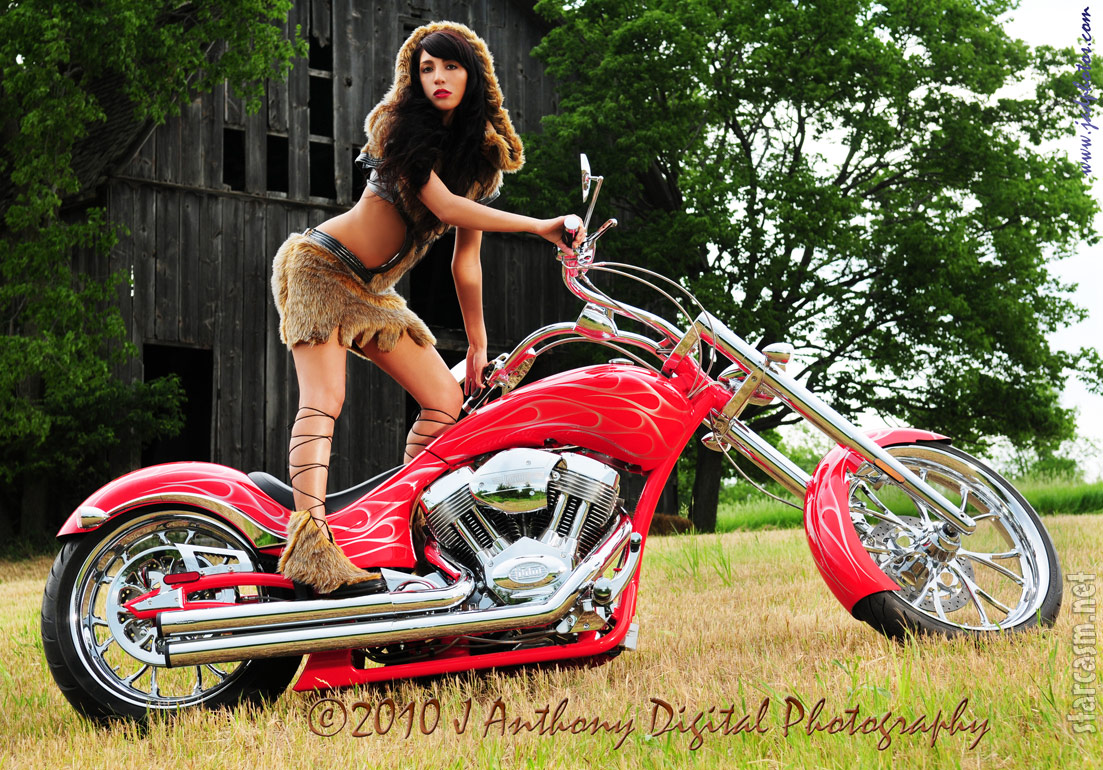 Outtake photo from the Farrah Abraham Mastering the Art of American Motorcycles calendar shoot