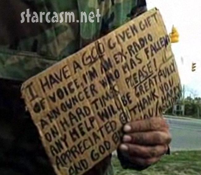 Columbus Ohio homeless man Ted Williams' sign
