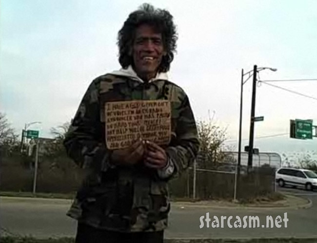 Columbus Ohio homeless man Ted Williams' sign about his radio voice