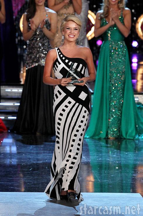 2011 Miss America Teresa Scanlan accepts an award during the Pagean