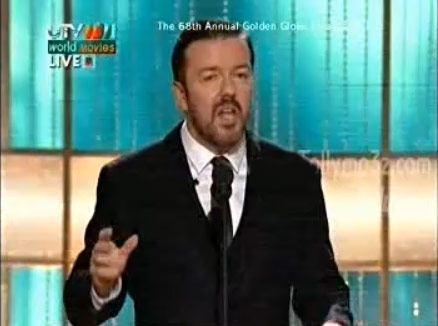 Ricky Gervais hosting the 2011 Golden Globes