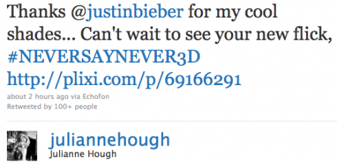Cap of Julianne Hough's tweet out to Justin Bieber