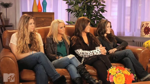 Kailyn Leah Chelsea and Jenelle from Teen Mom 2 in an MTV after show interview