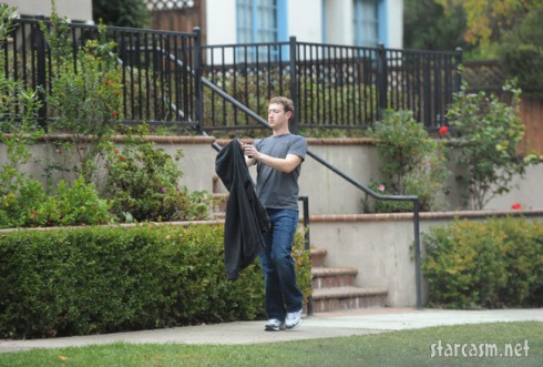 Facebook CEO Mark Zuckerburg in front of his new home.