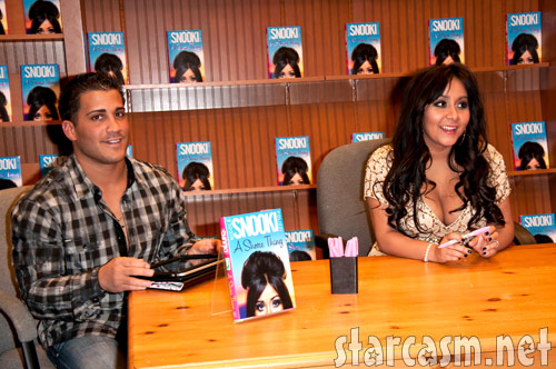 Snooki and boyfriend Jionni LaValle at a book signing in Brick, New Jersey