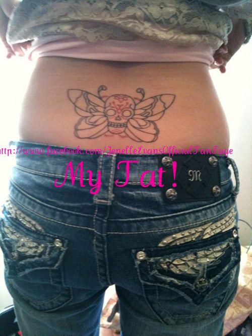 Jenelle Evans skull and butterfly tattoo tramp stamp on her back