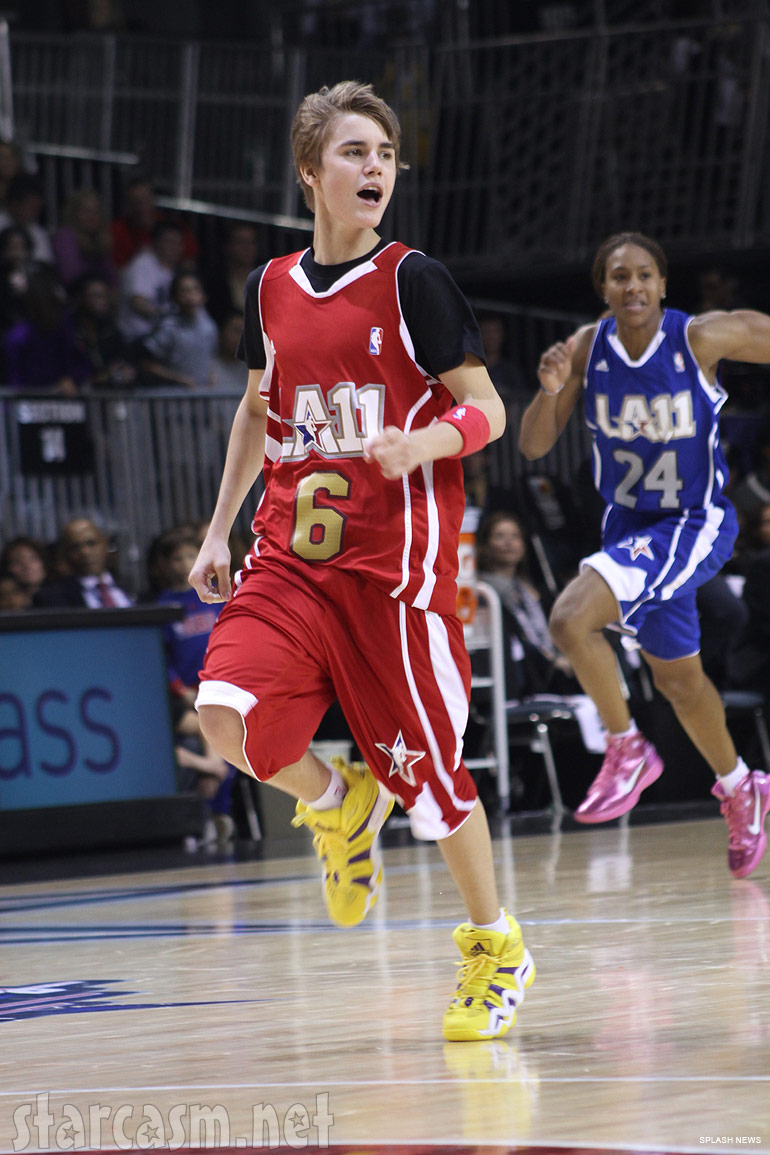 Justin Bieber playing basketball at the BBVA NBA All-Star Celebrity Game