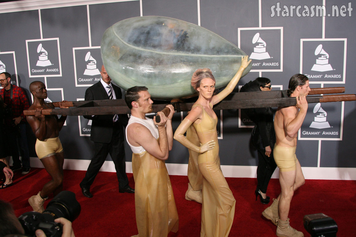 Lady Gaga arrives at 2011 Grammy Awards red carpet in an egg