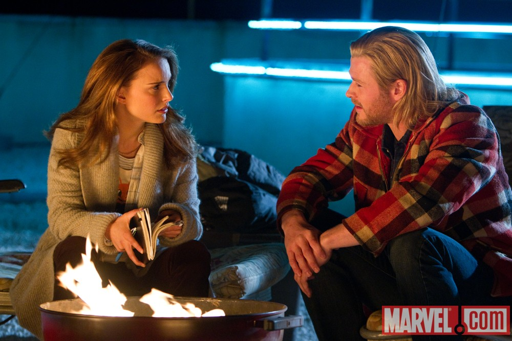 Chris Hemsworth as Thor and Natalie Portman as Jane Foster from the 2011 film Thor