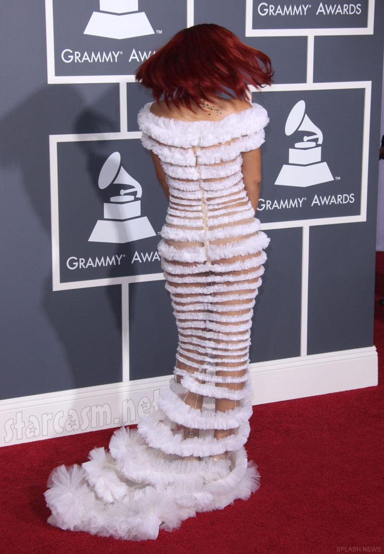 PHOTOS Rihanna's half-naked striped dress at 2011 Grammy Awards