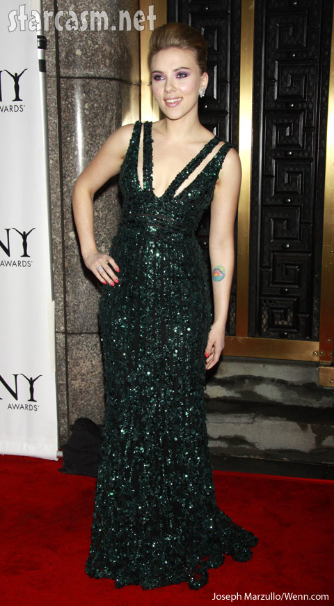 Bright colored tattoo on Scarlett Johansson's arm