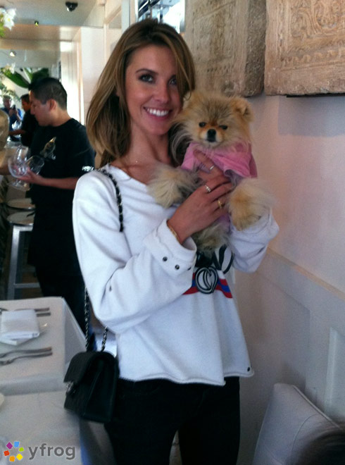 Audrin Patridge with Giggy the Pom from The Real Housewives of Beverly Hills