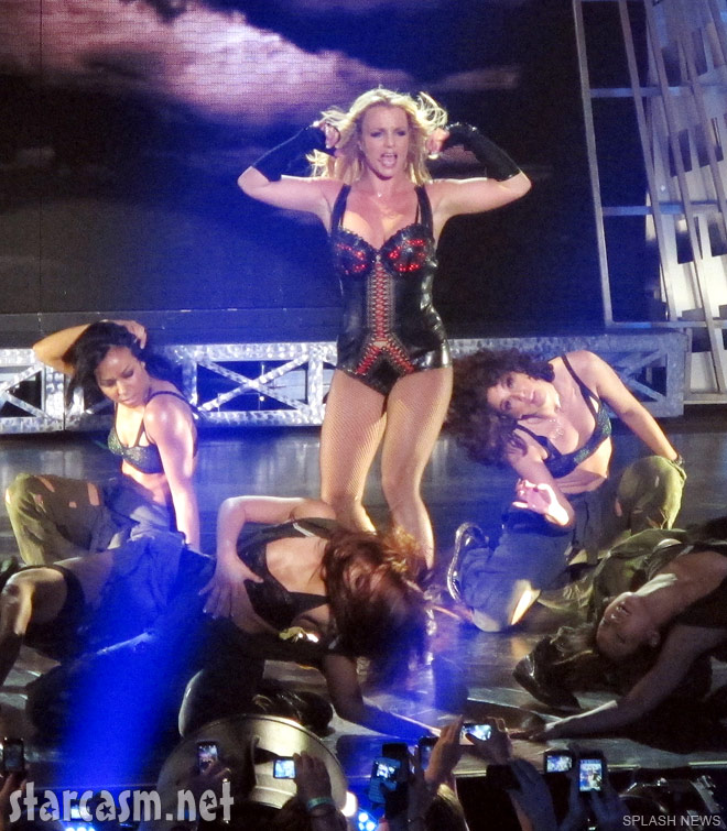 Britney Spears wears a sexy burlesque outfit during her Femme Fatale Las Vegas show