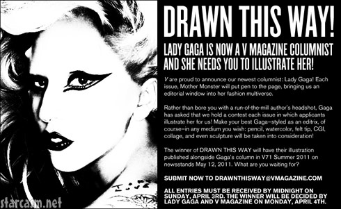 Lady Gaga will be writing for fashion magazine V and need you to illustrate her