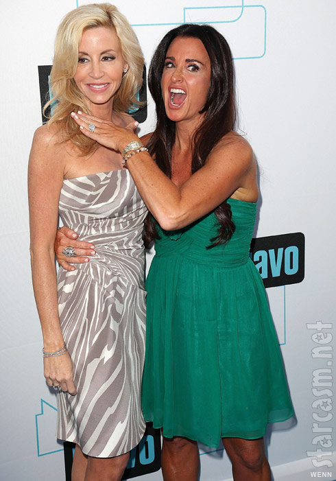 Real Hosuewives of Beverly Hills' Kyle Richards playfully chokes Camille Grammer