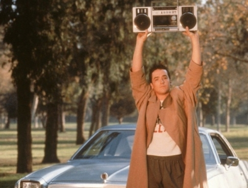 "Lloyd Dobler in the famous ""In Your Eyes"" scene from ""Say Anything."""