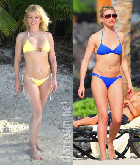 Cameron Diaz and Ramona Singer in side-by-side bikini pictures