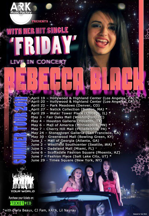 Friday singer Rebecca Black announces 2011 tour of malls