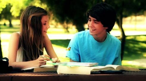 "Alana Lee studies with her crush  in her video ""Butterflies"""