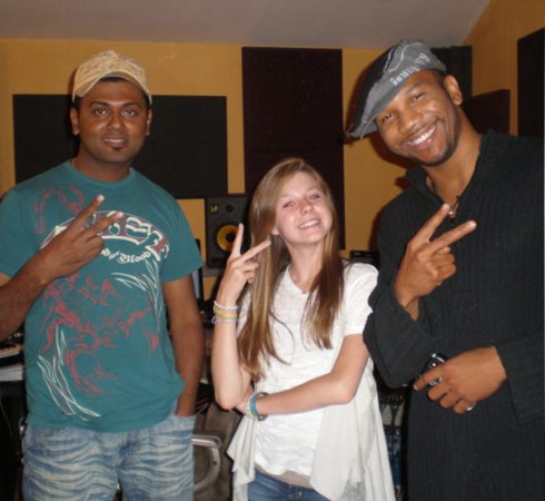 Alana Lee with Ark Music Factory's Clarence Jey and Patrice Wilson