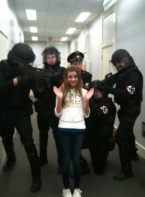 "Alana Lee goofing around with the Nazi soldiers of ""Allegiance"""