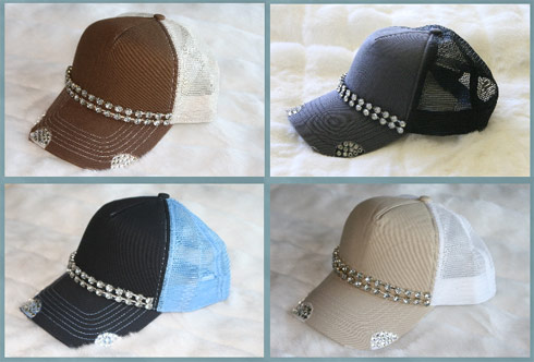 Four varieties of Diamond trucker hats from Alexis Bellino and Glitzy Bella