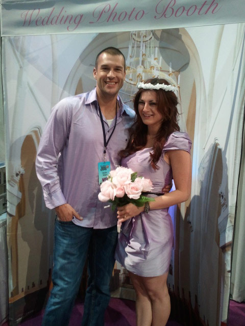 Big Brother couple Brendon Villegas and Rachel Reilly take a wedding photo booth picture