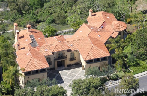 Aerial view of Charlie Sheen's Los Angeles home