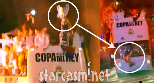 Real Madrid soccer player Sergio Ramos drops the Copa del Rey Cup which then gets run over by by a bus