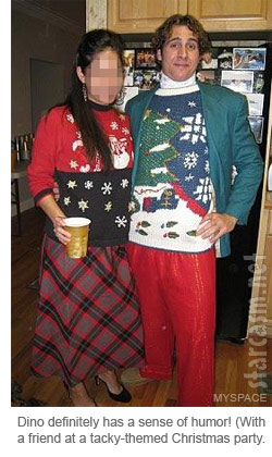 Constantine Dino Tzortzis and a lady friend at a tacky-themed Christmas party