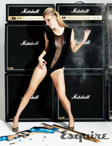 Heather Morris playing some sexy air guitar for the 2011 Esquire magazine music issue