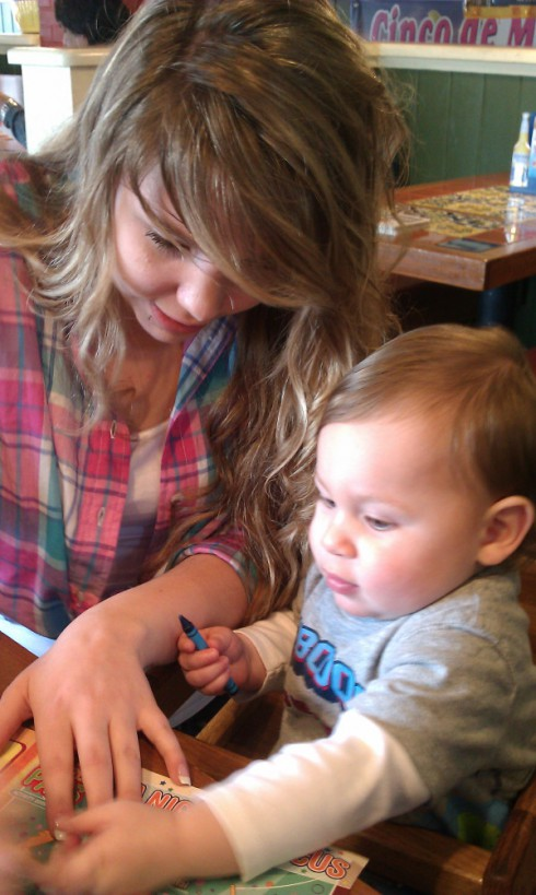 Kailyn Lowry and son Isaac coloring
