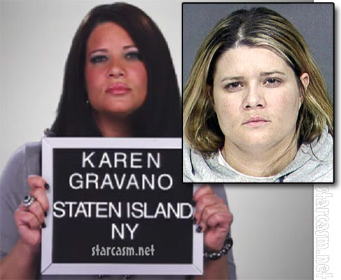 Mob Wives Karen Gravano fake and real mug shot photos side by side