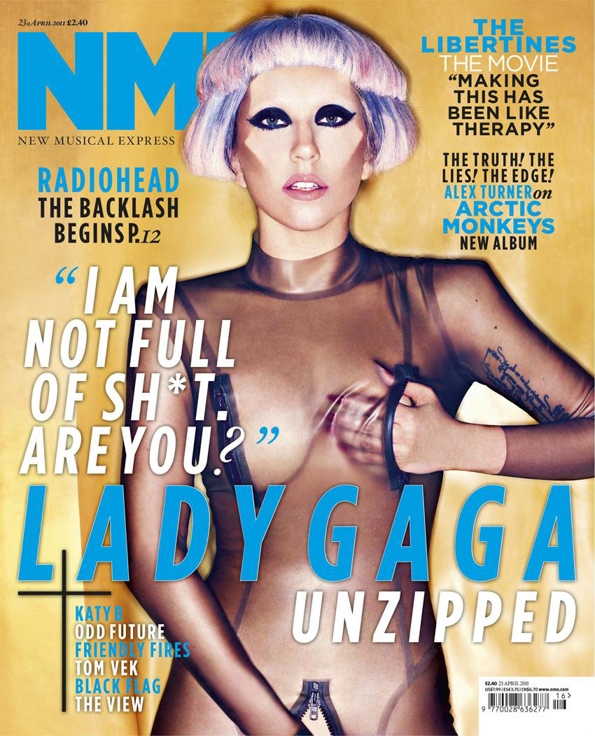 Lady Gaga in zippers on the cover of NME April 23 2011