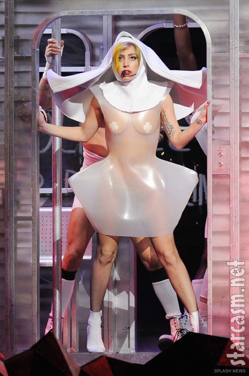 Lady Gaga wears a see-through plastic nun costume during The Monster Ball Tour