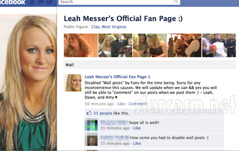 Leah Messer changed her Facebook fan page photo after rumors of her and Corey divorcing surfaced