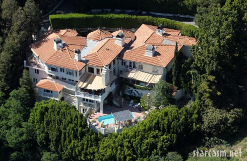 Aerial view of Mark Wahlberg's Los Angeles home