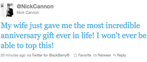 Nick Cannon praises his wife Mariah Carey on Twitter for giving birth to their twins