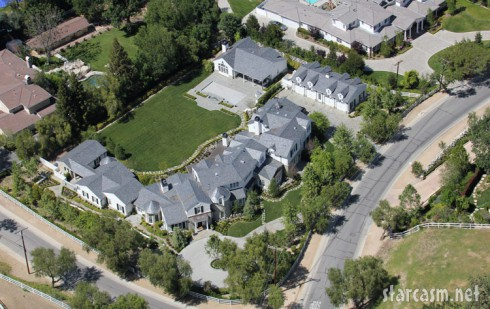 Aerial view of Ozzy Osbourne and Sharon Osbourne's Los Angeles home